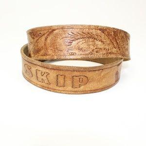 Vintage Tooled Leather ' Skip ' Belt - No Buckle